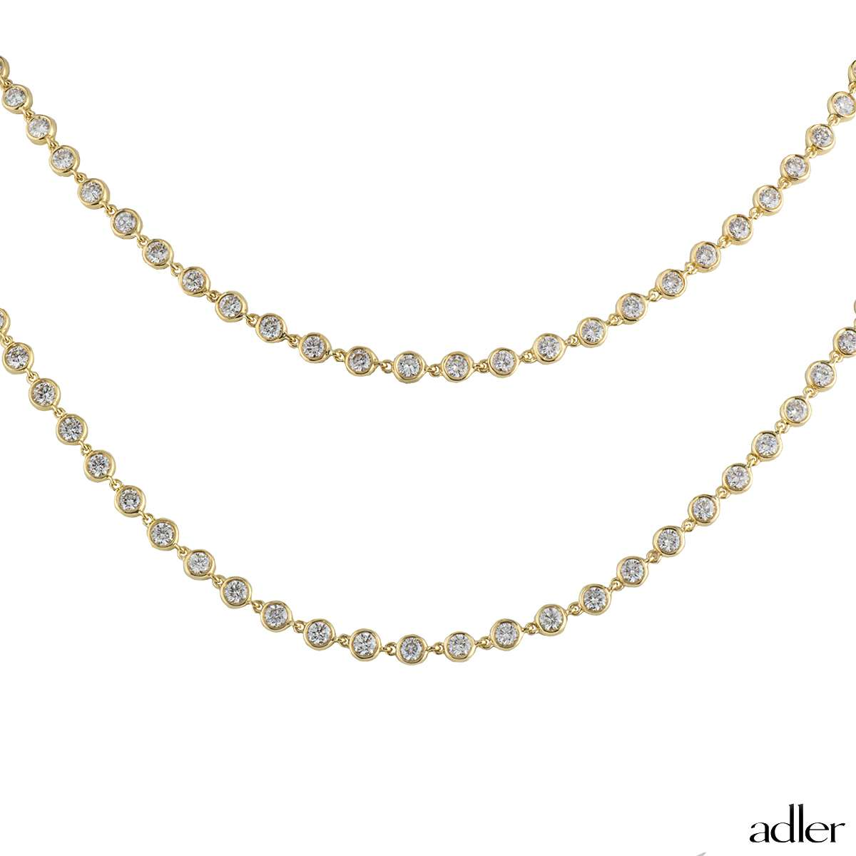 Adler 18k Yellow Gold Diamond Line Necklace 17.20ct